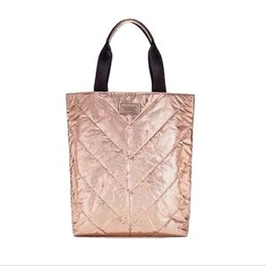 New! Victoria's Secret Rose Gold Metallic Tote Bag